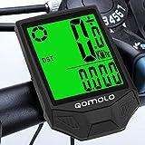 Qomolo Compteur de Vélo sans Fil, Ordinateur de Vélo étanche Multifonctionnel Compteur Kilométrique Vélo, Compteur de Vitesse avec Rétroéclairage LCD y Réveil Automatique