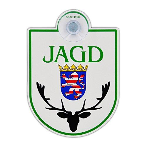 """Saugnapfschild Schild """"Jagd - Hessen"""" Acrylschild 3mm mit Saugnapf 30mm, ca. 90x125 mm für Scheibeninnenbefestigung"""