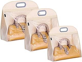 Non-woven Handbag Organizer Storage Dust Cover Hanging Closet Bag 3 Pack (White)