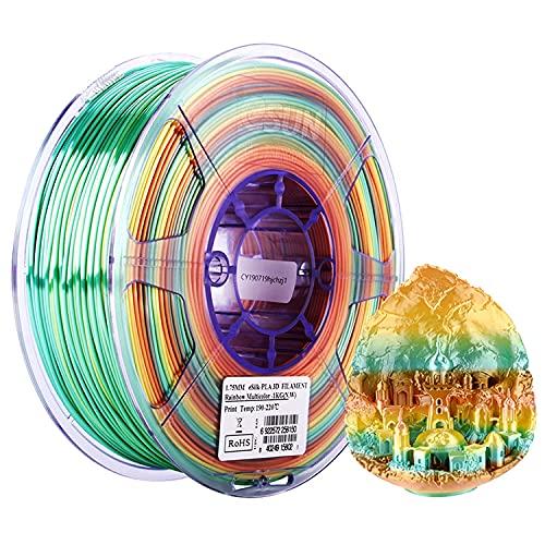 eSUN Filamento PLA Arcoíris Seda 1.75mm, Sedoso Brillante Impresora 3D Filamento PLA, Precisión Dimensional +/- 0.05mm, 1KG (2.2 LBS) Carrete para Filamento de Impresión 3D, Rainbow Multicolor Seda