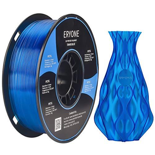 Filamento PETG Transparente Blue 1.75 mm, filamento ERYONE para impresora 3D y lápiz 3D, 1 kg, 1 Spool …