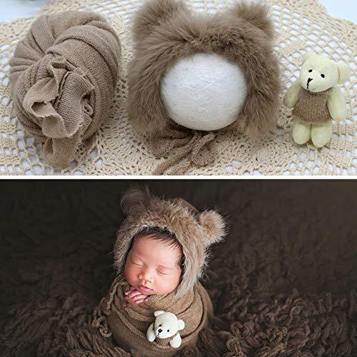 Ruiqas Neugeborene Fotografie Prop Wrap Flauschigen Hut Bär Puppe Set Säugling Baby Foto Requisiten Outfits (Khaki)