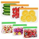 Newdora Bolsas de Silicona Reutilizables 6 Pack, Bolsas Congelar Reutilizables para Almacenamiento de Alimentos, Bolsas de conservación, Bolsas Reutilizables para Fruta Sándwiches Verduras, Sin BPA