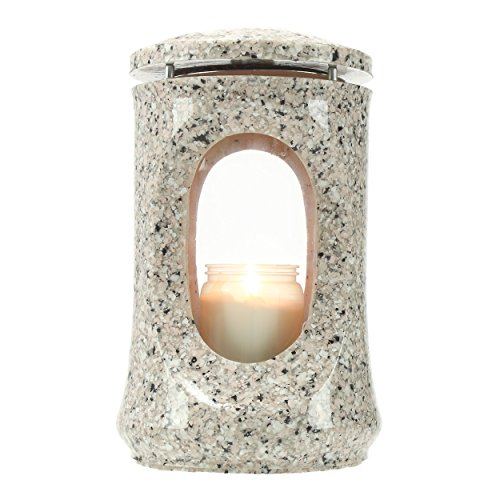 Lanterna per Tomba Fumaria Resina Sintetica Finto Granito Rosa Beta Altezza 23cm