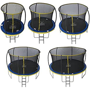 Zero Gravity Kids Ultima 4 High Spec Trampoline with Safety Enclosure Netting and Ladder - Blue/Yellow, 6 ft