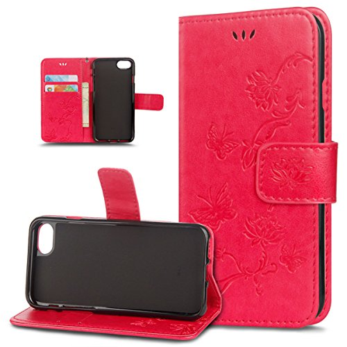Coque iPhone 8,Coque iPhone 7,ikasus Motif Relief Papillon et lotus Housse Cuir PU Housse Etui Coque Portefeuille Protection supporter Flip Case Etui Housse Coque pour iPhone 8/7 Etui,Rouge