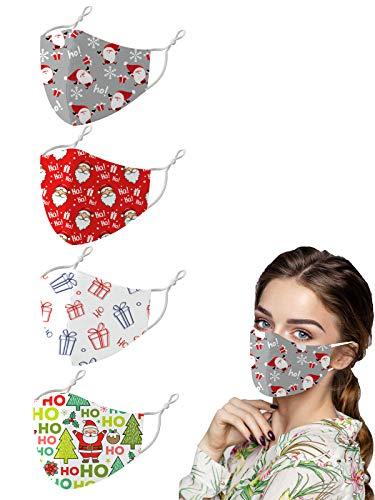 Fashionable Christmas Face Masks for Adults, Adjustable Cute Elk Santa Print Cloth Mask for Holiday Outdoors (4pcs-Ho Ho)