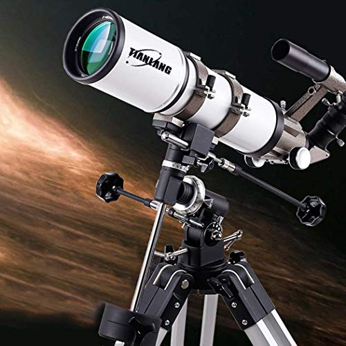 GGPUS Distancia Focal 600 mm, telescopio Refractor telescopio, película Verde Multicapa, Espejo buscador 6 × 30, Espejo Zenith 90 Grados con Montura ecuatorial y trípode