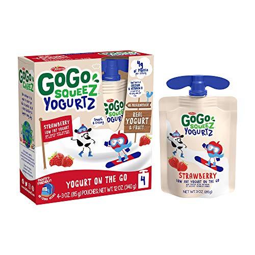 GoGo squeeZ yogurtZ Strawberry, 3 oz. (4 Pouches) - Kids Snacks Made from Real Yogurt & Fruit - Pantry Friendly Snack, No Fridge Needed - No Preservatives - Kosher Certified - Gluten Free