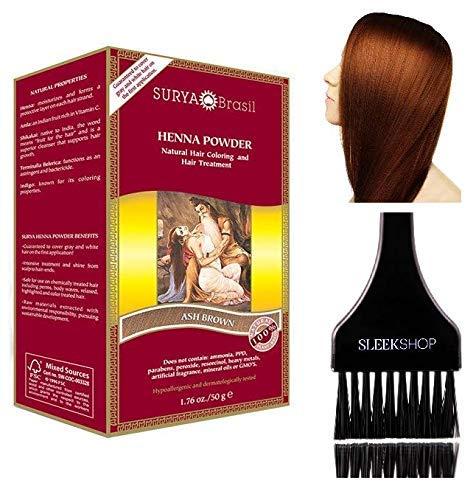 Surya Brasil All Natural HENNA Hair Color POWDER Dye, Coloring & Hair Treatment (with Brush) Brazil (ASH BROWN)