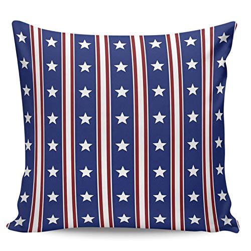 Winter Rangers Fundas de almohada decorativas, diseño de bandera del día de la independencia, con rayas rojas y azules y cortas, para sofá, cama, silla, ultra suave y transpirable, 50,8 x 50,8 cm