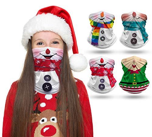 4 PCS Kids Face Mask Neck Gaiter Xmas Full-Coverage Bandanas Headband Tube Neck for Boys Girls (Chrismas/Pack of 4, 7-10T/8.2713.39inch)