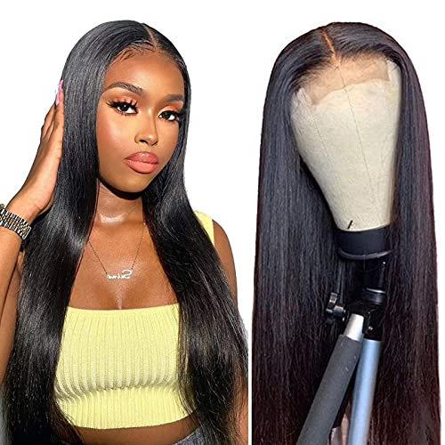 Straight 4x4 Lace Closure Wigs Human Hair Wigs for Black Women 18 Inch Brazilain Straight Human Hair Glueless Lace Front Wigs with Baby Hair Natural Black Color