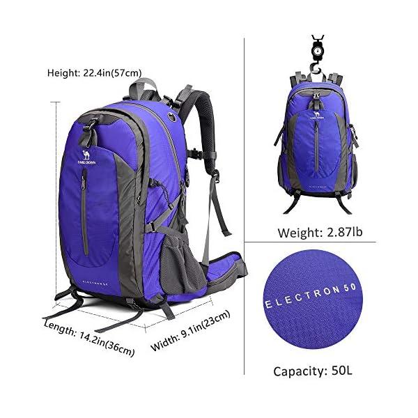 CAMEL CROWN 50L Mochila de Senderismo con Cubierta Impermeable Mochila de Escalada Daypack de Gran Capacidad para Viaje Deporte Montañismo Trekking Acampada al Aire Libre 1