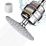 HarJue Shower Head and 15 Stages Shower Filter Set, High Pressure Filtered Showerhead Softener for Hard Water, Removes Harmful Substances and Chlorine Fluoride - 1 Replaceable Filter Cartridge