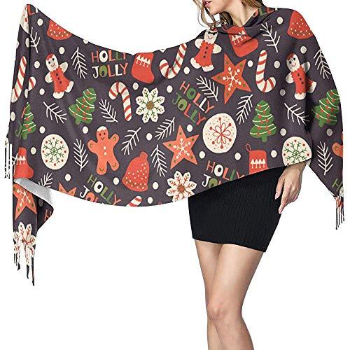 Mahada Kerstnaadloos patroon met koekjes-sjaal zachte wol-sjaal en wikkelwarme stola-deken
