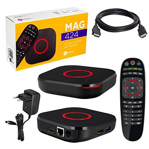 MAG 424 Original Infomir & HB-DIGITAL 4K IPTV Set TOP Box Multimedia Player Internet TV IP Receiver # 4K UHD 60FPS 2160p@60 FPS HDMI 2.0# HEVC H.256 Unterstützung # ARM Cortex-A53 + HDMI Kabel