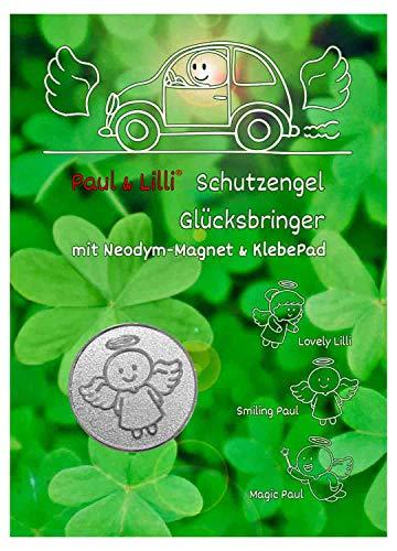 Paul & Lilli Auto Glücksbringer Schutzengel Magnet Smiling Paul - Kleeblatt, Farbe Silber - 2,3cm, 1 Stück Engel Plakette Zettelhalter