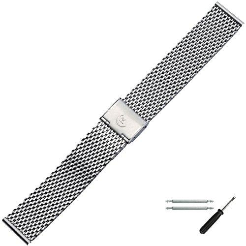 MARBURGER Uhrenarmband 20 mm Edelstahl Silber - Werkzeug Montage Set 84907200020