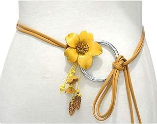 SGJFZD Women's Belt Flower Buckle Fashionable Waist Chain Thin Belt (Color : Yellow, Size : 100-135CM)