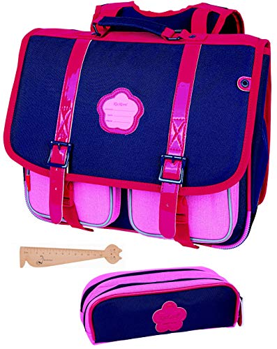Lot Cartable Kickers Bleu Marine Rose 38 cm + 1 Trousse...