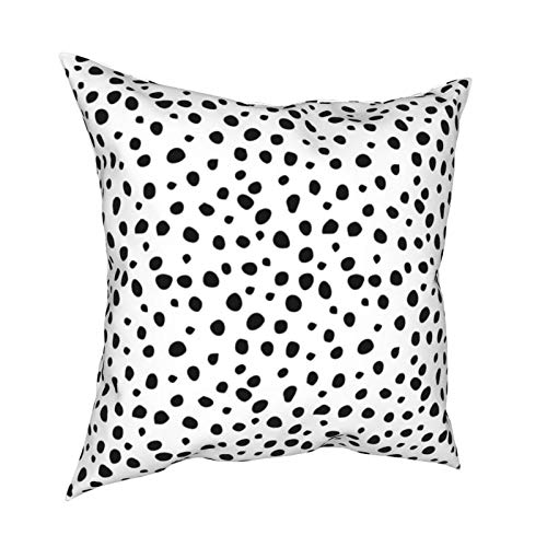 Black Dalmation Dots Square Throw Pillow Covers Cushion Case Pillowcase for Home Decor Sofa Couch Bedroom Car 45x45cm