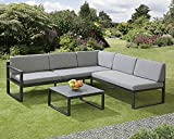 Garden Store <span class='highlight'>Direct</span> Sydney Aluminium Large Corner Lounge Set w/Textured Glass Coffee Table. Convertable Into Sunlounger. Ready Assembeled, Unpack & Enjoy!