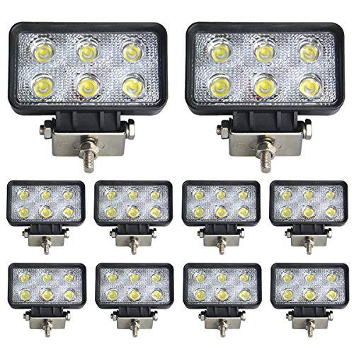 BRIGHTUM 10 X 18W phare de travail LED lampe voiture SUV ATV tracteur pelleteuse camion grue 4x4 camion Work light Phare LED Lampe à LED pour véhicule tout-terrain 12V 24V Lumière LED