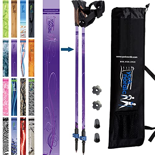 York Nordic Hiking & Walking Poles - Classic Nordic Grips - Lightweight, Adjustable, and Collapsible -2 Pieces Adjustable w/flip Locks, Detachable feet and Travel Bag (Purple Haze)