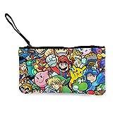 Legend Cartoon Zelda Pikachu Mario Smash Bros Kirby - Monedero de lona para monedas, lindo y a la moda, llevar y organizar la bolsa de almacenamiento y bolsa de cosméticos