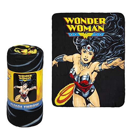 JPI Coperta in pile – Wonder Woman Flight – Coperta leggera in pelliccia sintetica grande 127 x 152,4 cm – per letti, divani, picnic, viaggi, campeggio
