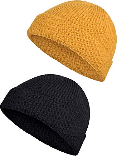 SATINIOR 2 Pieces Winter Short Fisherman Beanie Hat Trawler Beanie Watch Hat Edge Skullcap for Men (Black and Yellow)