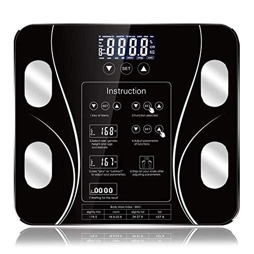BINGFANG-W Discs Waage Smart-Körperfettwaage, LCD-Monitor Körper High Precision, Bluetooth App Badezimmer Elektronische Waagen, Smart Home, 180Kg, Schwarz Abrasive
