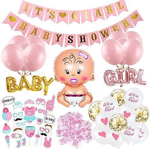 O-Kinee Babyparty Deko Mädchen Set, Baby Shower Mädchen Deko Rosa, Babydusche Dekorations - It's a Girl Girlande, Neugeborene Folienballoon, Fotorequisiten Masken, Ballons Rosa, Tischdeko Streudeko