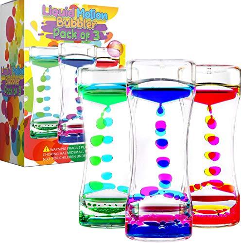 YUE MOTION Liquid Motion Bubbler Visual Sensory Timer, 2 Minute Liquid Timer– New Big Calming Sensory Water Bubbler Toy (Set of 3)