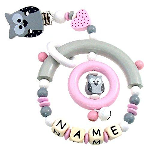 Premium Kinderwagen Anhänger mit Namen HOLZ Modell Eule Herz grau rosa