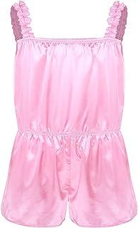 CHICTRY Mens Sissy Satin Shiny Frilly Crossdressing Lingerie Pants Nightwear Girlie Pajamas