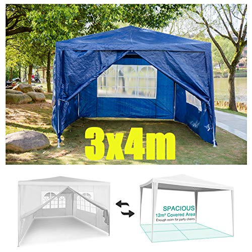 Huini 3 x 4 m Bierzelt Gartenpavillon mit 4 Seitenteilen Partyzelt Pavillon Marktzelt Wasserdicht für Party/Hochzeit/Picknick/BBQ - Blau