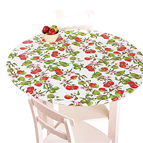 YILE Vinyl Round Fitted Tablecloth, Elastic Edged Flannel Backed, Fits Easily Around Any Round Table Up to 40'-44' Diameter, for Indoor/Outdoor Use (Flower, 40-44 inch)