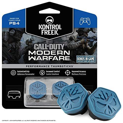 KontrolFreek Call of Duty Modern Warfare Performance Thumbsticks for PlayStation 4 (PS4) | 2 Mid-Rise, Convex | Blue/Black