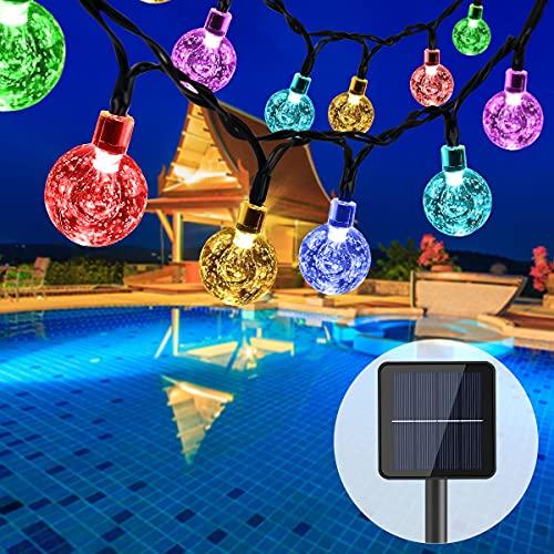 Qxmcov Guirnaldas Luces Exterior Solar, Luz de Burbuja Led de 7 M 50, 8 Modos de Luz de Cuatro Colores, Terraza, Navidad, Boda, Decoración De Iluminación para Fiestas [Nivel De Energía A ++]