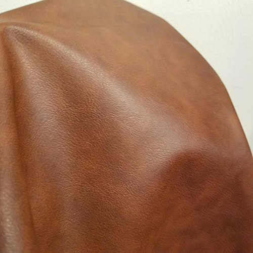 NAT Leathers | Cognac Rustic Brown Two Tone Lodiz Soft Faux Vegan Leather PU {Peta Approved Vegan} | 1 Yard (36 inch x 54 inch) Cut by Yard | Synthetic Pleather...