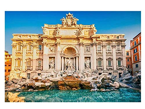 Rome Trevi Fountain Architecture Landscape 5D DIY Diamond Painting Kit Full Drill Round Rhinestone Cross Stitch Crafts Gift Painting Home Wall Art Decoration-20X40Cm