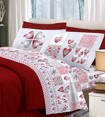 Smartsupershop Parure de lit d'été pour lit 2 places avec couvre-lit et parure de lit en coton – Cœur d'amour, rouge