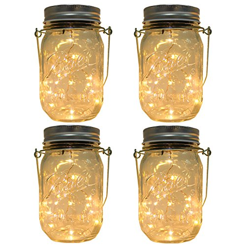 CHBKT 4-Pack Solar-powered Mason Jar Lights (Mason Jar / Handle...