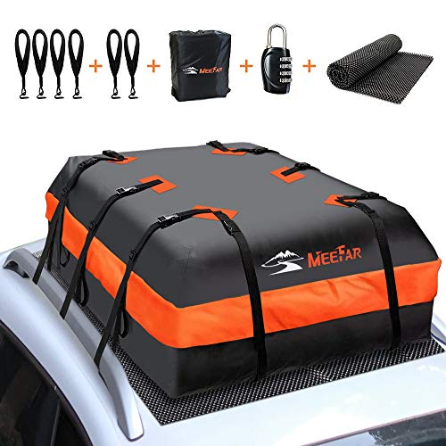 Car Roof Top Rooftop Cargo Carrier Bag 20 Cubic ft Waterproof for All Cars with/Without Rack, Includes Anti-Slip Mat, 10 Reinforced Straps, 6 Door Hooks, Luggage Lock