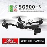 Hélicoptère Télécommandé RC Quadcopter Drone RTF RC Toy,SG900-S Quadricoptère Pliable 2.4G 720P HD Caméra WiFi FPV Drone à Point Fixe GPS