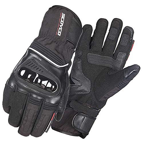Guantes de Moto Invierno Cálido Impermeable Guantes Llenos de Dedos Motocicleta Profesional Equipo de Carreras,Black,XL