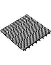 yorten Set van 11 houten terrastegels van WPC-hout, tegels, vloertegels, balkontegels, grijs, 30 x 30 cm (per m² zijn 11 tegels nodig)