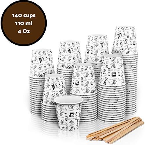 140 Espresso Pappebecher Coffee to Go 110 ml 4 Oz mit Holz Rührstäbchen (140)
